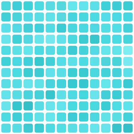 aqua background: Vector abstract light blue mosaic background with rounded square tiles over white, square format.