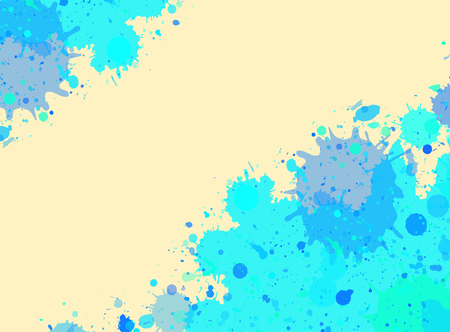text room: Vibrant bright blue watercolor artistic splashes frame with room for text.