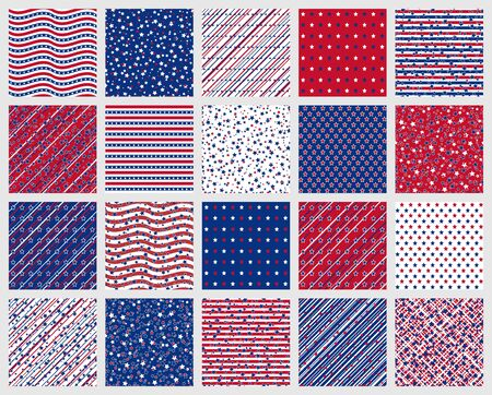 Set of American patriotic stars and stripes seamless patterns in red, blue and white. Independence Day vector backgrounds.