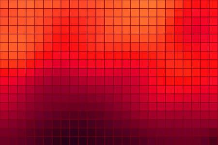 horizontal format: Abstract square mosaic tile orange background for any design, horizontal format. Illustration