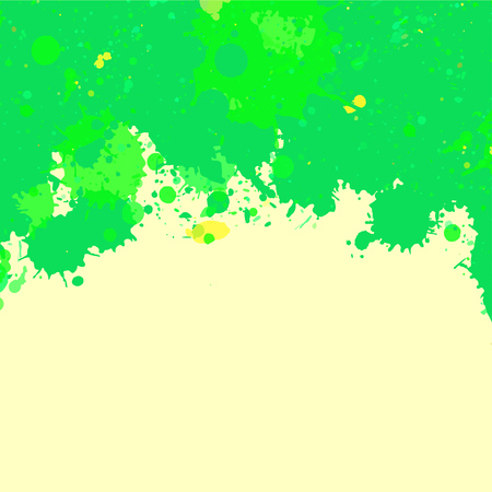 text room: Vibrant bright green watercolor artistic splashes frame with room for text, square format.