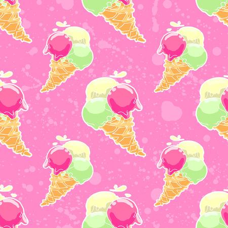 icecream cone: Seamless pattern with ice-cream cone in tasty bright colors.