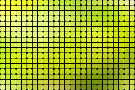 horizontal format: Abstract green mosaic background with square tiles over black, horizontal format.