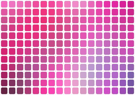 horizontal format: Vector abstract pink mosaic background with rounded square tiles over white, horizontal format. Illustration