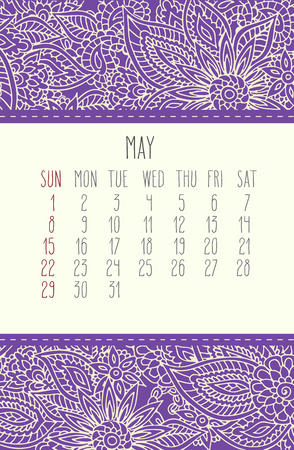 scheduler: May 2016 vector calendar over purple lacy doodle hand drawn background, week starting from Sunday.