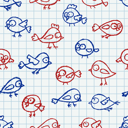 squared: Cute little hand drawn birds seamless pattern. Cartoon vector background with funny red and blue birds over squared notebook page. Illustration