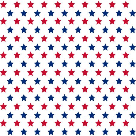 patriotic background: American patriotic stars seamless pattern in bright red, blue and white. Illustration