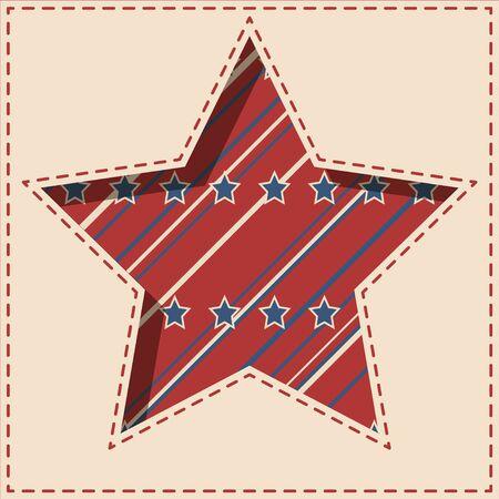 estrella de papel patriótico americano de fondo con estrellas y rayas patrón en forma de colores de la vendimia.