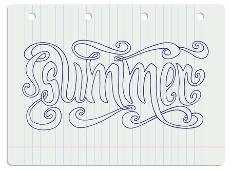 ruled: Hand drawn blue word Summer over ruled notebook page background. Illustration
