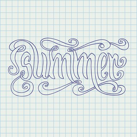 notebook page: Hand drawn blue word Summer over squared notebook page background.
