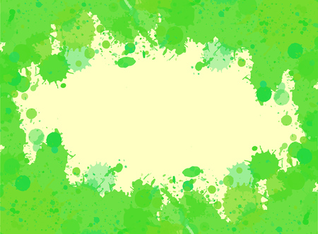 text room: Vibrant bright green watercolor paint artistic splashes frame with room for text, horizontal format.