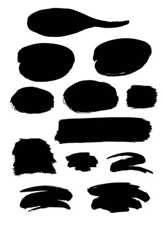 black ink: Collection of different black grunge brush strokes and forms isolated over white background. Set of design elements. Vector illustration.