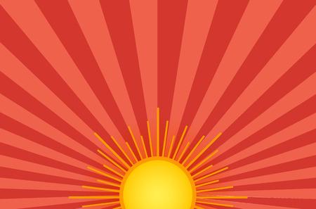 De zomer glanzende zon op de hemelachtergrond. Oranje en rood? Ackdrop met retro lichtstralen.