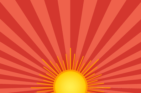 Estate sole splendente sullo sfondo del cielo. Arancione e rosso? Ackdrop retrò raggi di luce.