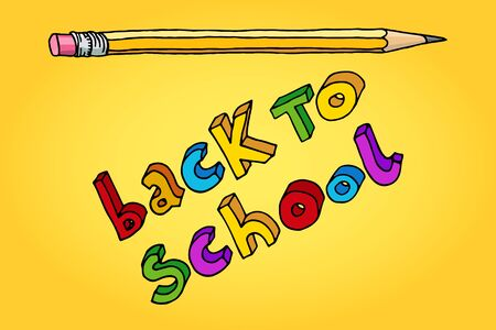 intermediate: Hand drawn doodle Back to School multicolor words and a pencil over yellow background.