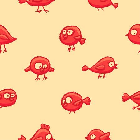 dibujado a mano pájaros lindos dibujados a mano patrón rojo . vector de fondo de dibujos animados con pájaros divertidos en colores vintage