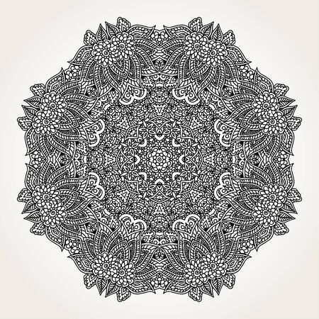 coloring pages: Ornate lacy doodle floral round rosette in black over white backgrounds. Hand drawn mandala. Coloring pages for adults.