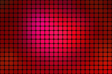 mosaic tiles: Abstract mosaic red background with square tiles over black, horizontal format. Illustration
