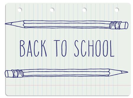 intermediate: Hand drawn doodle Back to School blue words and two pencils over lined notebook sheet. Illustration
