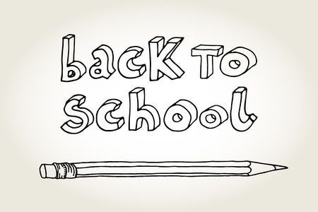semester: Hand drawn doodle contour Back to School black words and a pencil isolated over white background. Illustration
