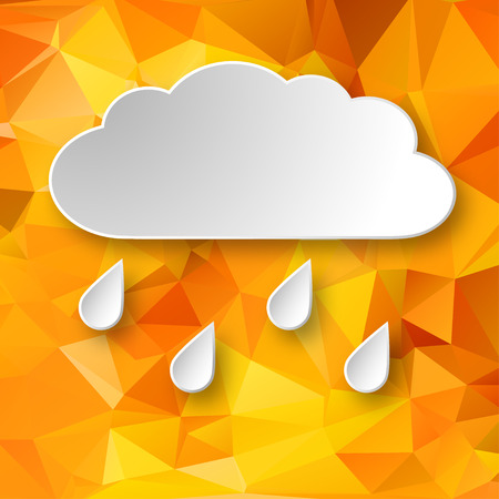 raining background: Paper 4d raining cloud over abstract geometric background. Illustration