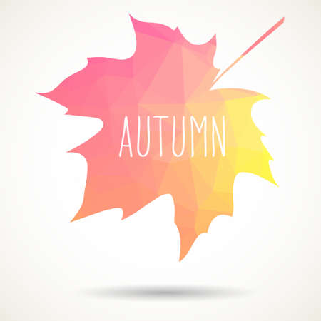 Maple leaf in triangular style with hand drawn word Autumn. Illustration