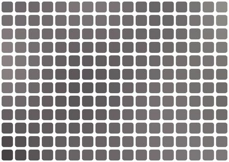 horizontal format: Vector abstract gray mosaic background with rounded square tiles over white, horizontal format. Illustration