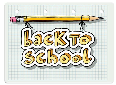 Hand drawn doodle Back to School words hanging on a pencil over squared notebook paper. Vector Illustration