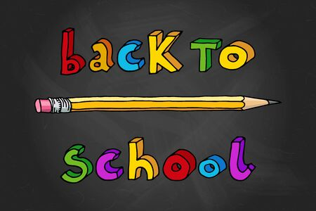 intermediate: Hand drawn doodle Back to School multicolor words and a pencil over black chalkboard. Illustration