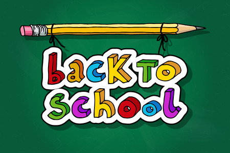 intermediate: Hand drawn doodle Back to School multicolor words hanging on a pencil over green chalkboard. Illustration