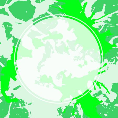 semitransparent: Template with semi-transparent white circle over bright green colorful artistic paint splashes, ready for your text. Illustration