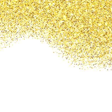 room for your text: Gold glitter texture border over white background. Abstract golden sparkles of confetti. Vector illustration with room for your text. Illustration