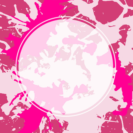 semitransparent: Template with semi-transparent white circle over bright pink colorful artistic paint splashes, ready for your text. Illustration