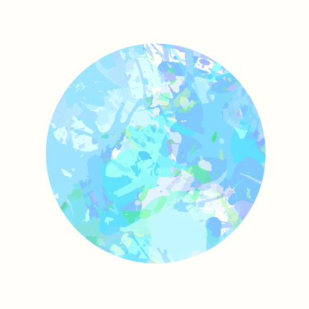 Pastel colored blue artistic paint splashes in a circle.