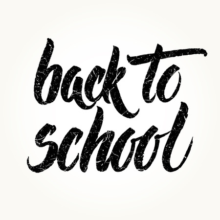 intermediate: Back to school textured words hand written by brush, black isolated over white.