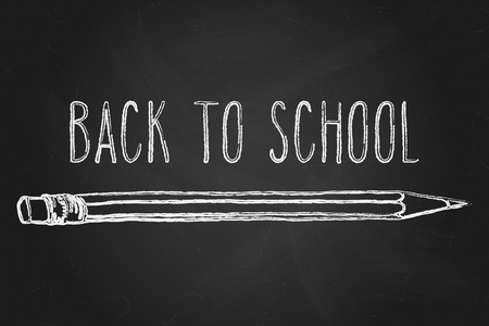 intermediate: Hand drawn doodle Back to School words and a pencil over black chalkboard. Illustration