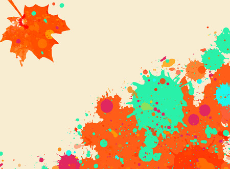 Bright orange and green watercolor paint splatter frame with autumn maple leaf, horizontal format. Illustration