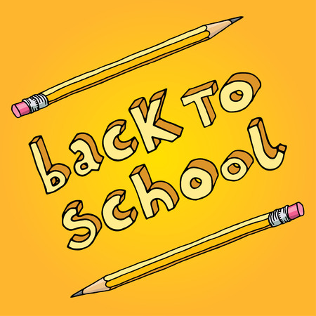 intermediate: Hand drawn doodle Back to School words and two pencils over yellow background.