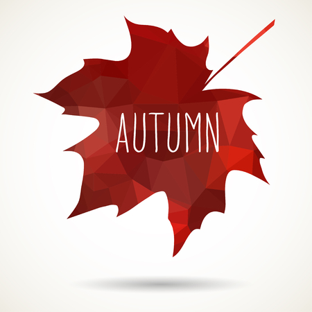 folded hand: Maple leaf in triangular style with hand drawn word Autumn. Illustration