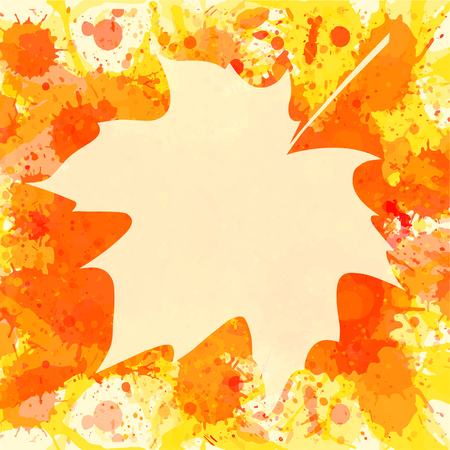 room for text: Autumn maple leaf over bright orange artistic paint background, blank frame with room for text, square format.