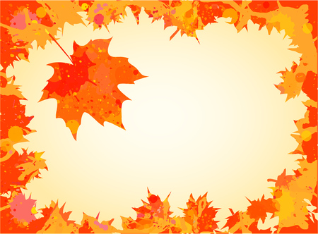 room for your text: Bright orange watercolor autumn maple leaves frame with room for your text.