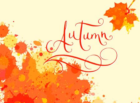 Main mot écrit automne en plein cadre d'éclaboussure de peinture aquarelle orange avec feuille d'érable. calligraphie contemporaine.