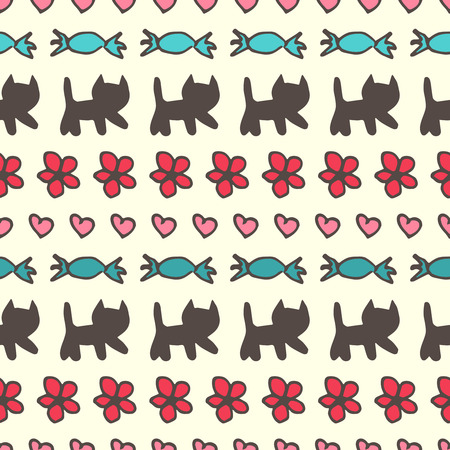 kitties: Sweet romantic vector seamless pattern with kitties, flowers, candies and hearts.