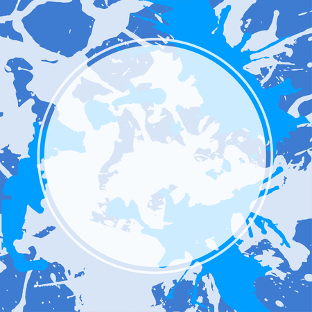 inkblot: Template with semi-transparent white circle over bright blue colorful artistic paint splashes, ready for your text.
