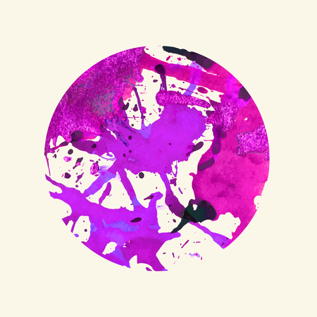 Bright colorful purple artistic paint splashes in a circle. Illustration