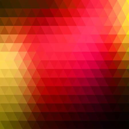 Abstract geometric red and yellow background formed with triangles in rows, square format.