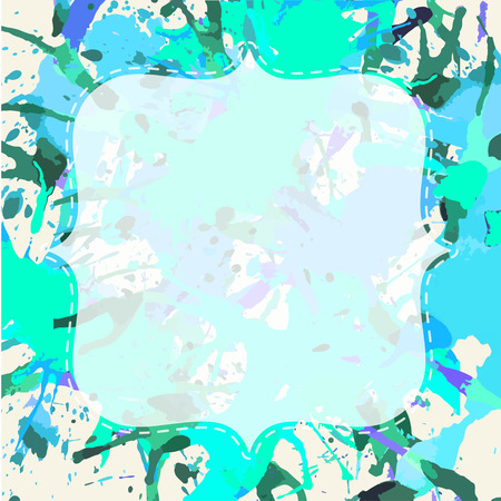 semitransparent: Template with semi-transparent white vintage frame over bright blue and green artistic paint splashes. Illustration
