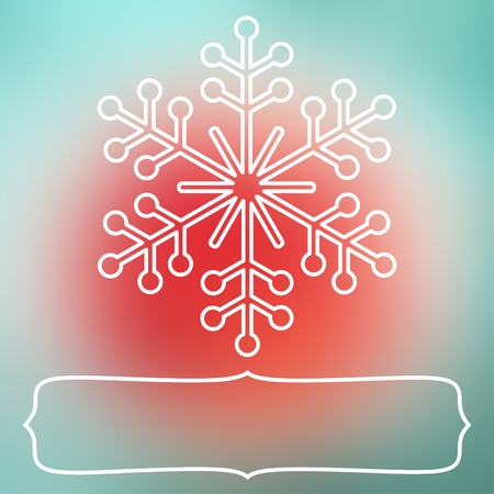 White snowflake over square abstract smooth blur background with empty frame for your text. Illustration