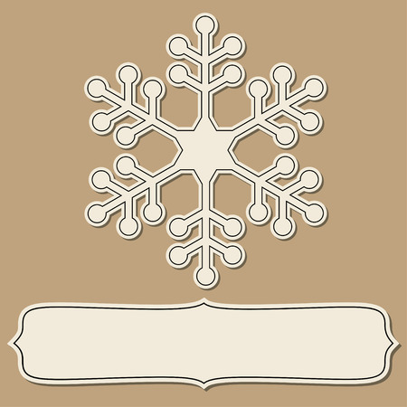 brown backgrounds: Vintage paper empty frame with snowflakes over brown backgrounds.