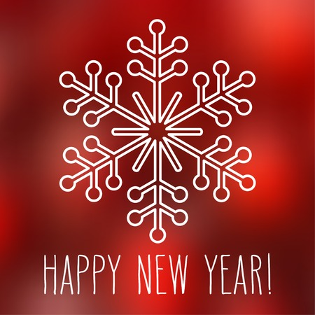 White snowflake over square abstract smooth blur background with hand written New Year greetings. Illustration